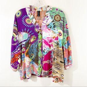 Sacred Threads Mixed Print Button Up Shirt Sz M